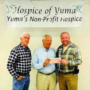 Glen Moss, president of Hospice of Yuma board of directors - Dave Sussman, Yuma Unit 358 President - John Williams, Hospice of Yuma executive director